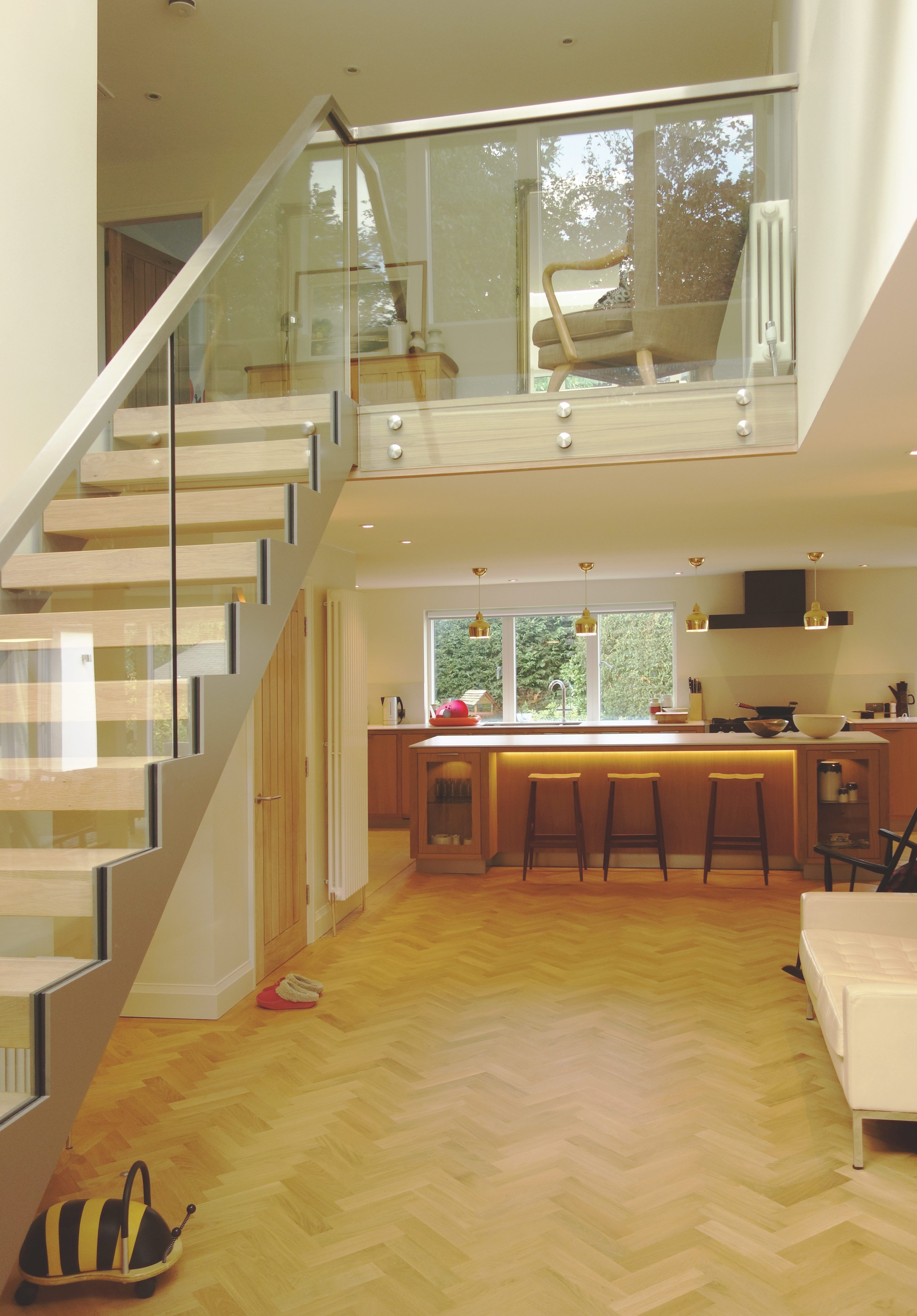 Galleried landing, Steel and glass open tread stair with ...