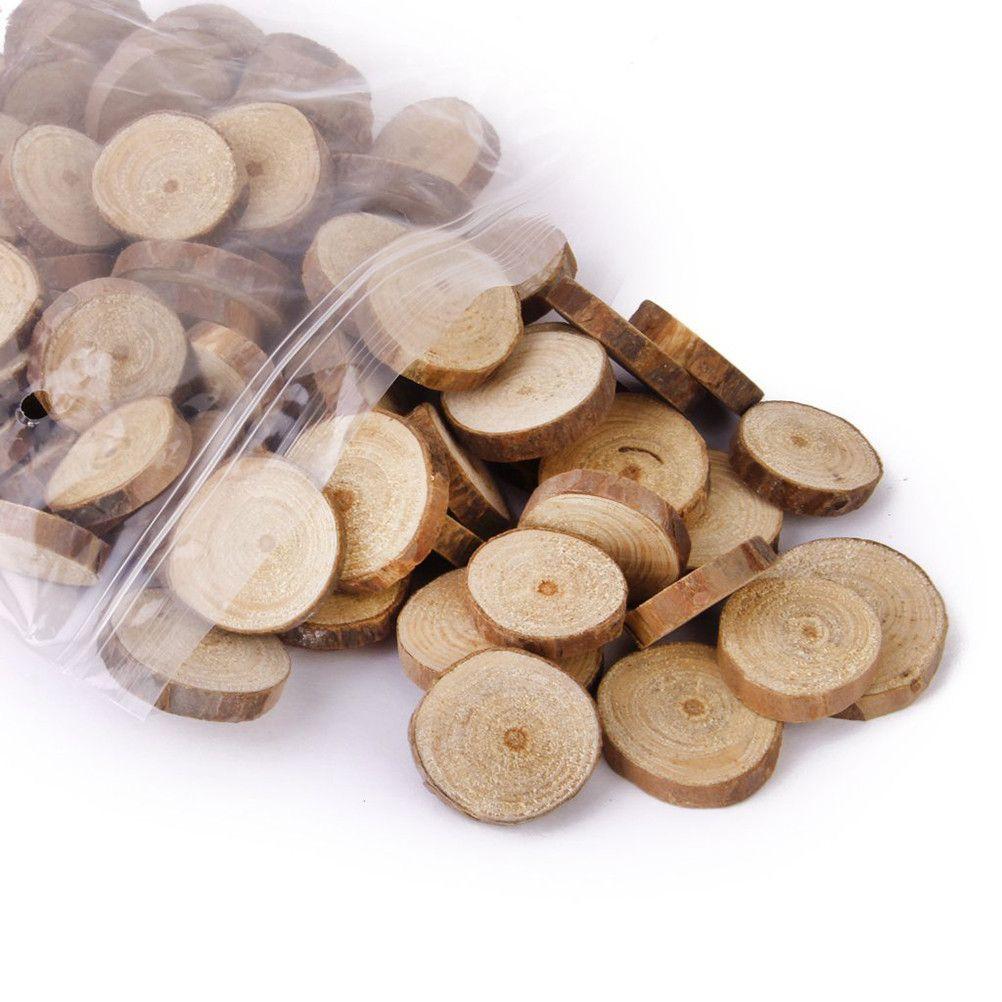 100pcs Bag 1 3CM Wood Log Slices Discs For DIY Crafts Wedding Centerpieces Wooden Round Decration