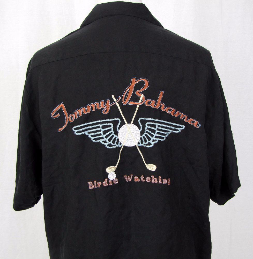 Tommy Bahama Shirt XL Hawaiian Golf Birdie Watching Black Embroidered Silk Camp…