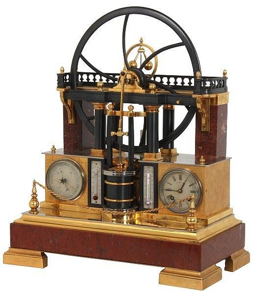 Pin By Gagan Sampla On Clocks: French Industrial Animated Steam Engine Clock. Tri-tone