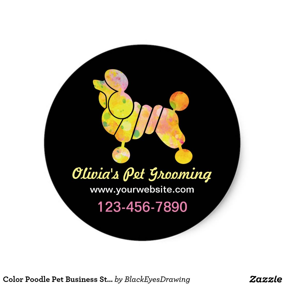Color Poodle Pet Business Sticker