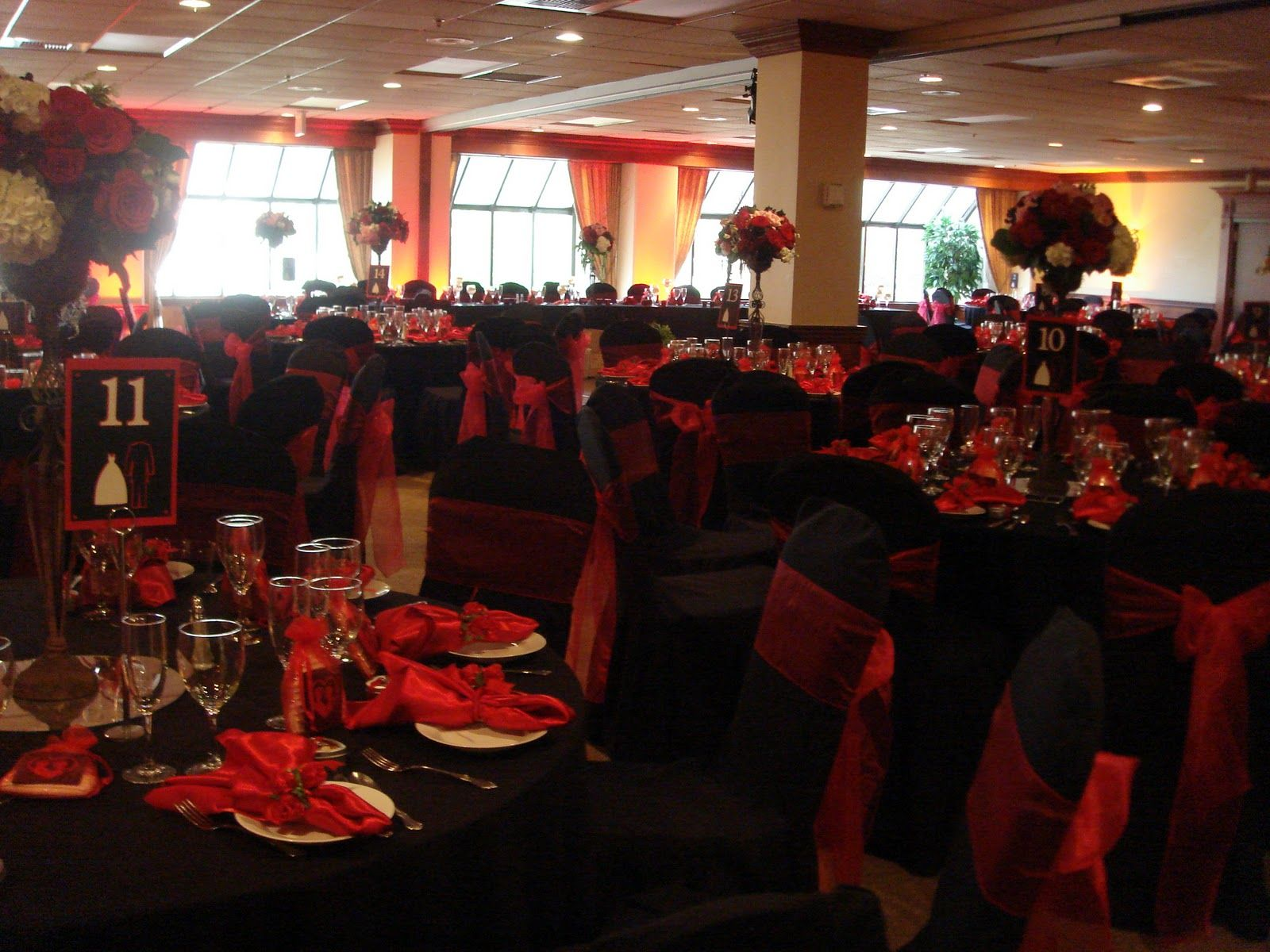 Unique Red And Black Wedding Reception Ideas With Chair Covers Napkins In Black And Chili