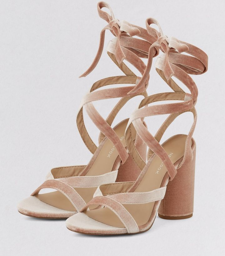 rosa high heels zum schn ren aus samt new look outfits. Black Bedroom Furniture Sets. Home Design Ideas