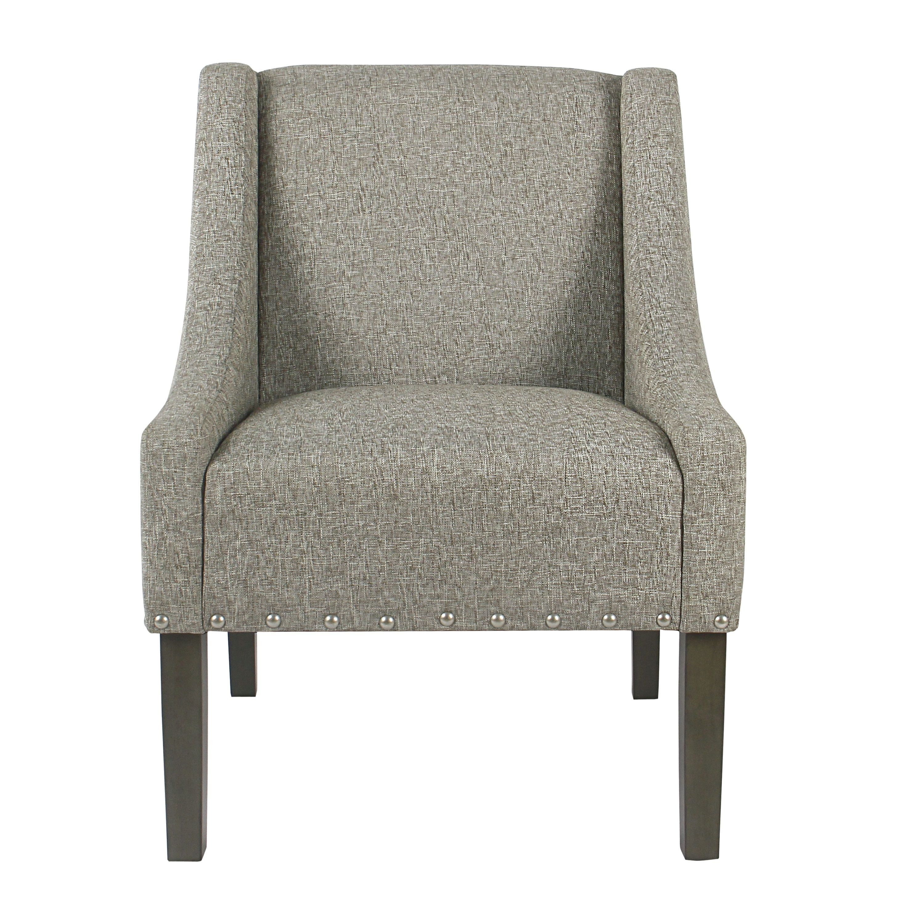 Modern Swoop Accent Chair With Nailhead Trim: Refurbished HomePop Modern Swoop Accent Chair With