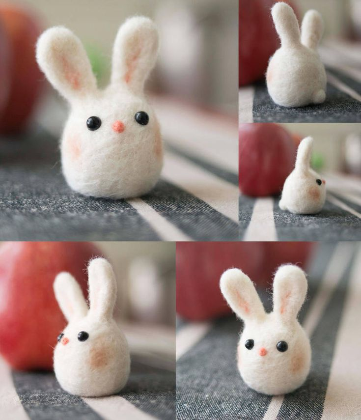 Kawaii Needle Felted Bunny by SukoshiKumo #feltedwoolanimals