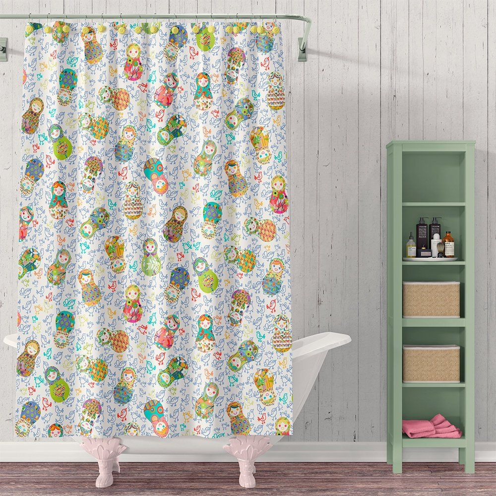 Kids Bathroom Shower Curtain Girls Cute Bathroom Decor Set With