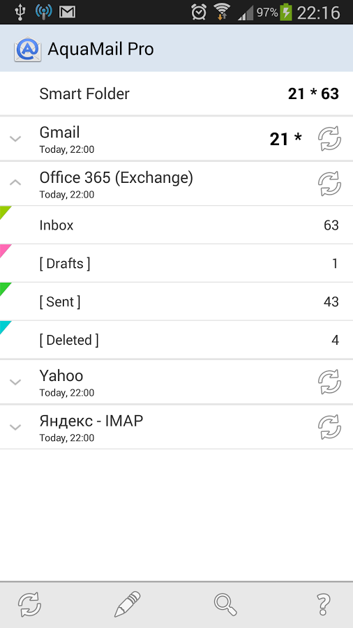 Aqua Mail email app for android Galaxy smartphone, App