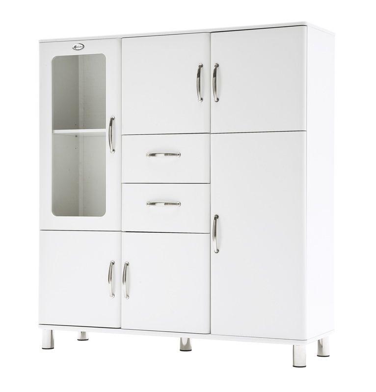 MalibuKabinett5238 kabinett 5 dører, 1 glassdør, 2 skuffer, hvit