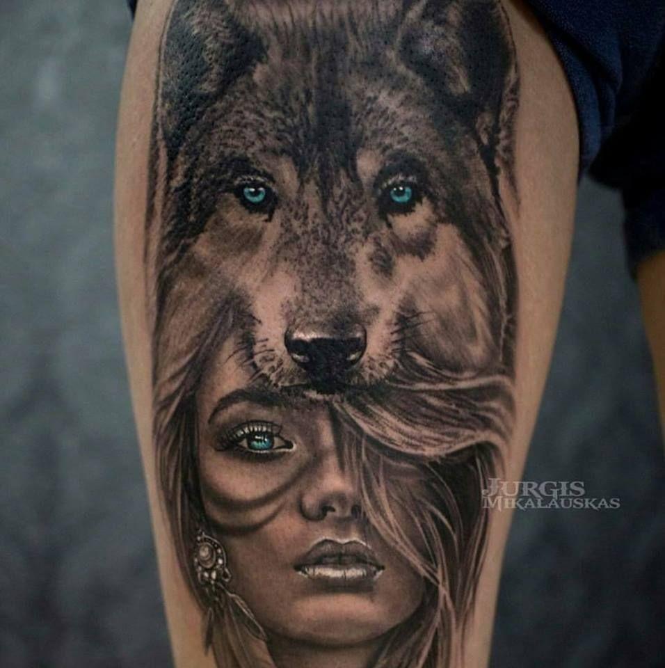 I Want It In 2020 Wolf Girl Tattoos Wolf Tattoo Sleeve Headdress Tattoo