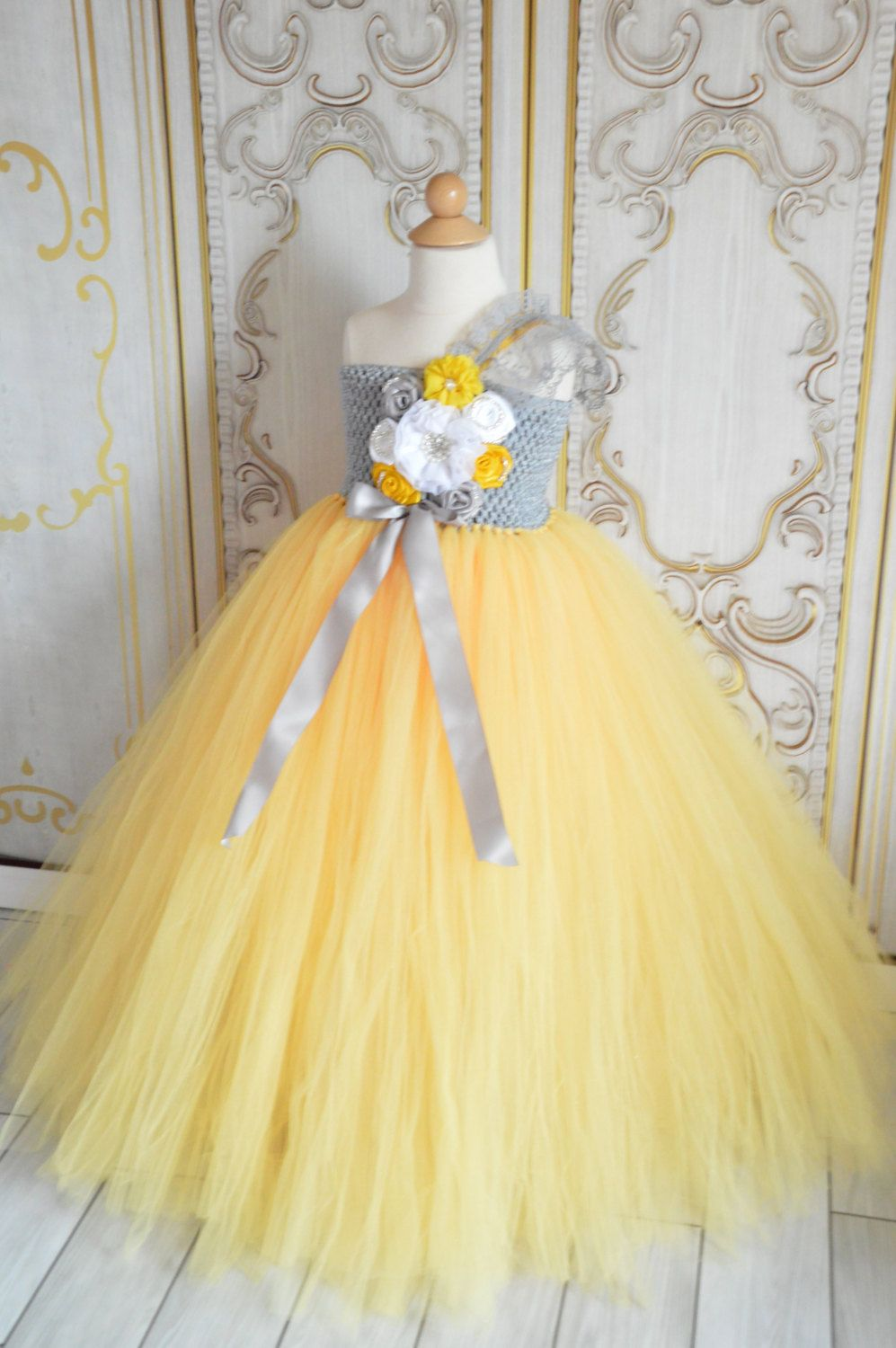 Vintage Grey And Yellow Flower Girl Tutu Dress By