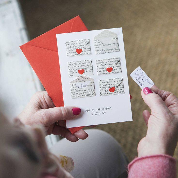 Six Love Note Mini Envelope Valentines Card