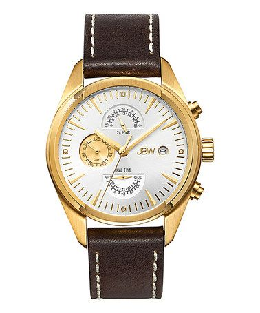 Look at this #zulilyfind! Brown & Gold The Woodall Leather-Strap Watch #zulilyfinds