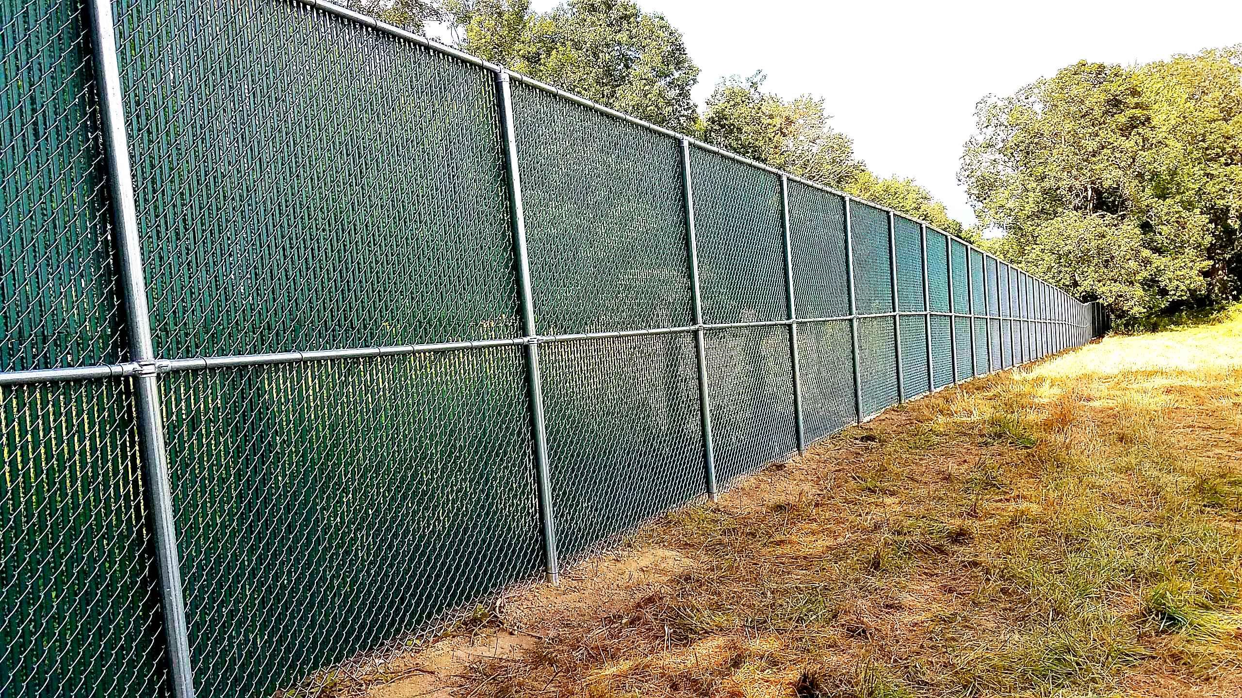 Galvanized Chain Link Fencing With Green Slating Chain Link Fence Chain Link Fence