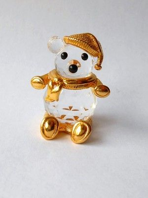 0c8d7cb28c8a Trimlite Swarovski Crystal 24K Gold Plate Retired Christmas Bear Scarf Hat  Mint