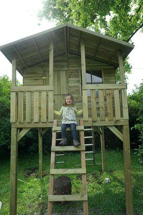 Großes Stelzenhaus Spielhaus aus Holz imprägniert mit