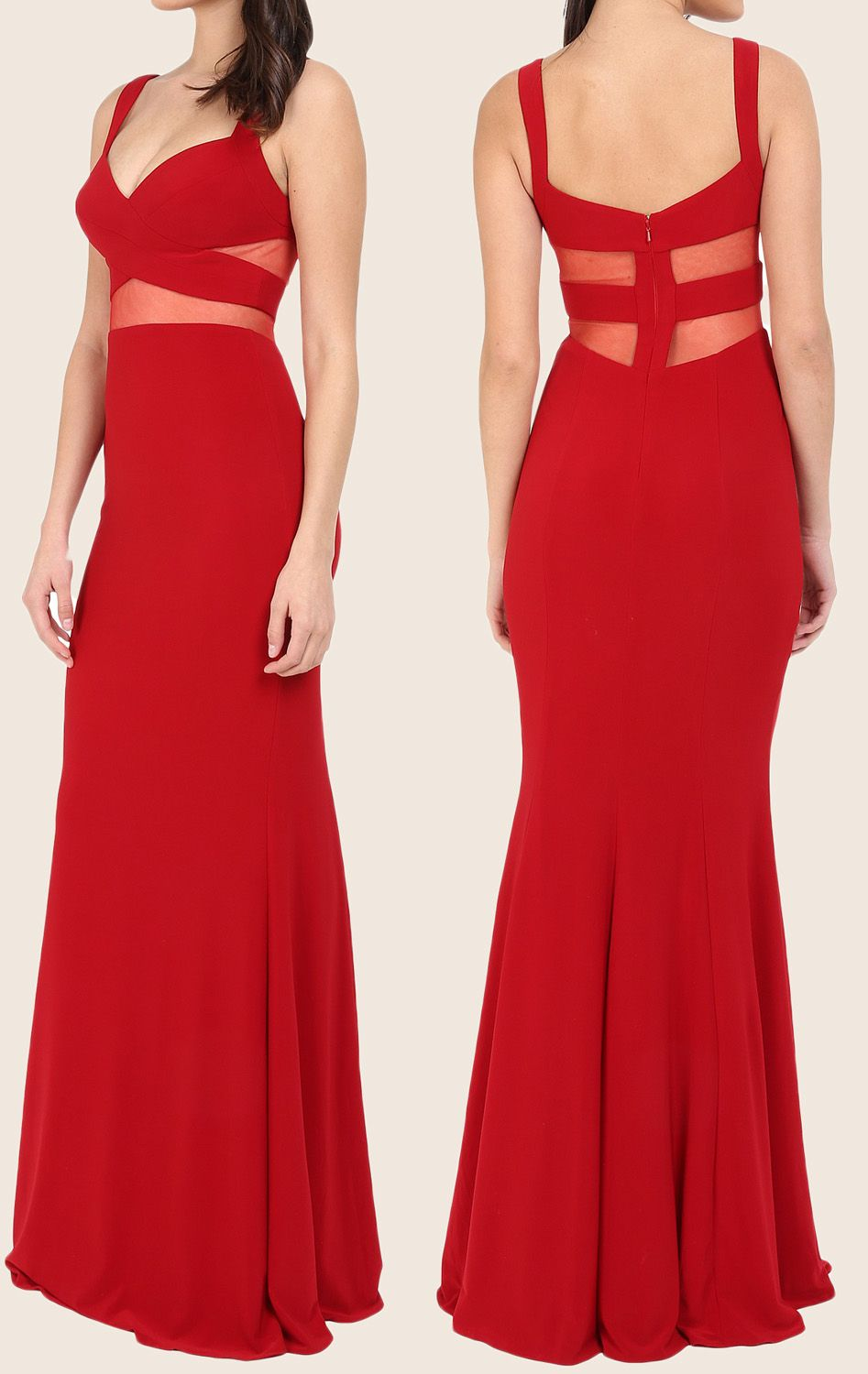 Two piece mermaid maxi prom dress jersey red formal gown red