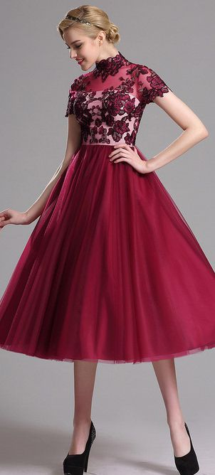 42b1c8f87c eDressit Red Embroidered Layered Party Dress Burgundy Gown
