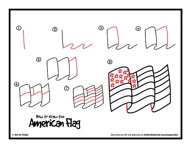 How To Draw The American Flag - Art For Kids Hub -