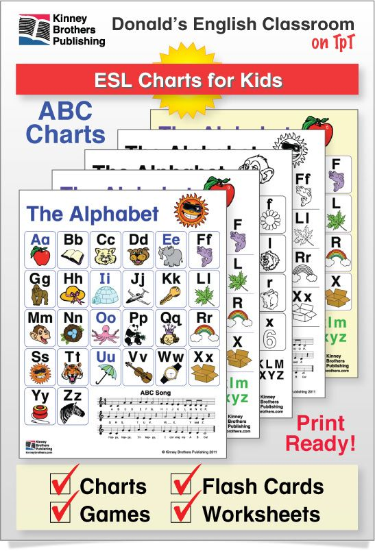Esl Alphabet Charts  Chart Kindergarten And Students