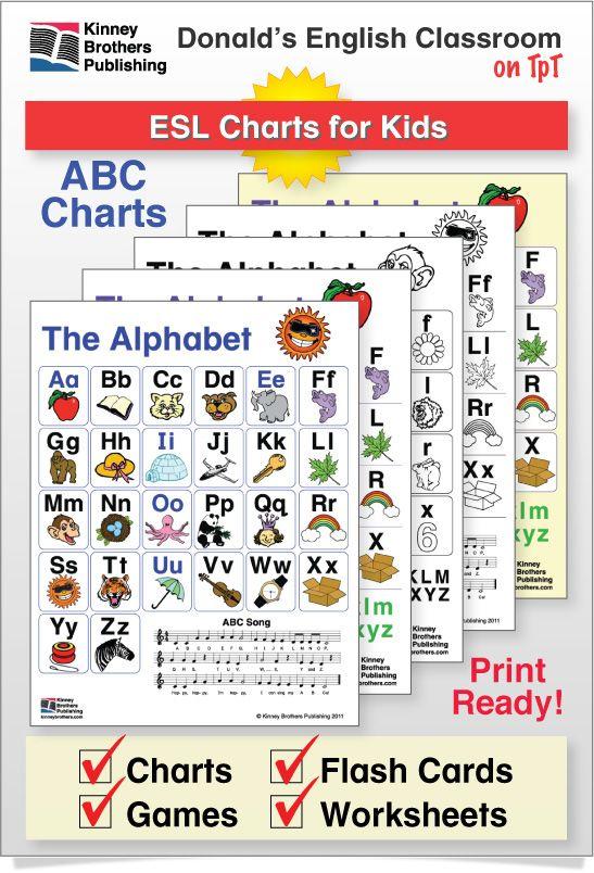 Esl Alphabet Charts  Chart Kindergarten And Students