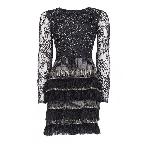 Matthew Williamson Lattice Feather Lace Embroidered Dress ($6,275) found on Polyvore featuring dresses, black, black dress, feather cocktail dress, butterfly print dress, black beaded dress and lace sleeve dress