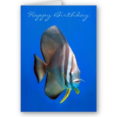 Blue Bat Fish Birthday Card  $3.35