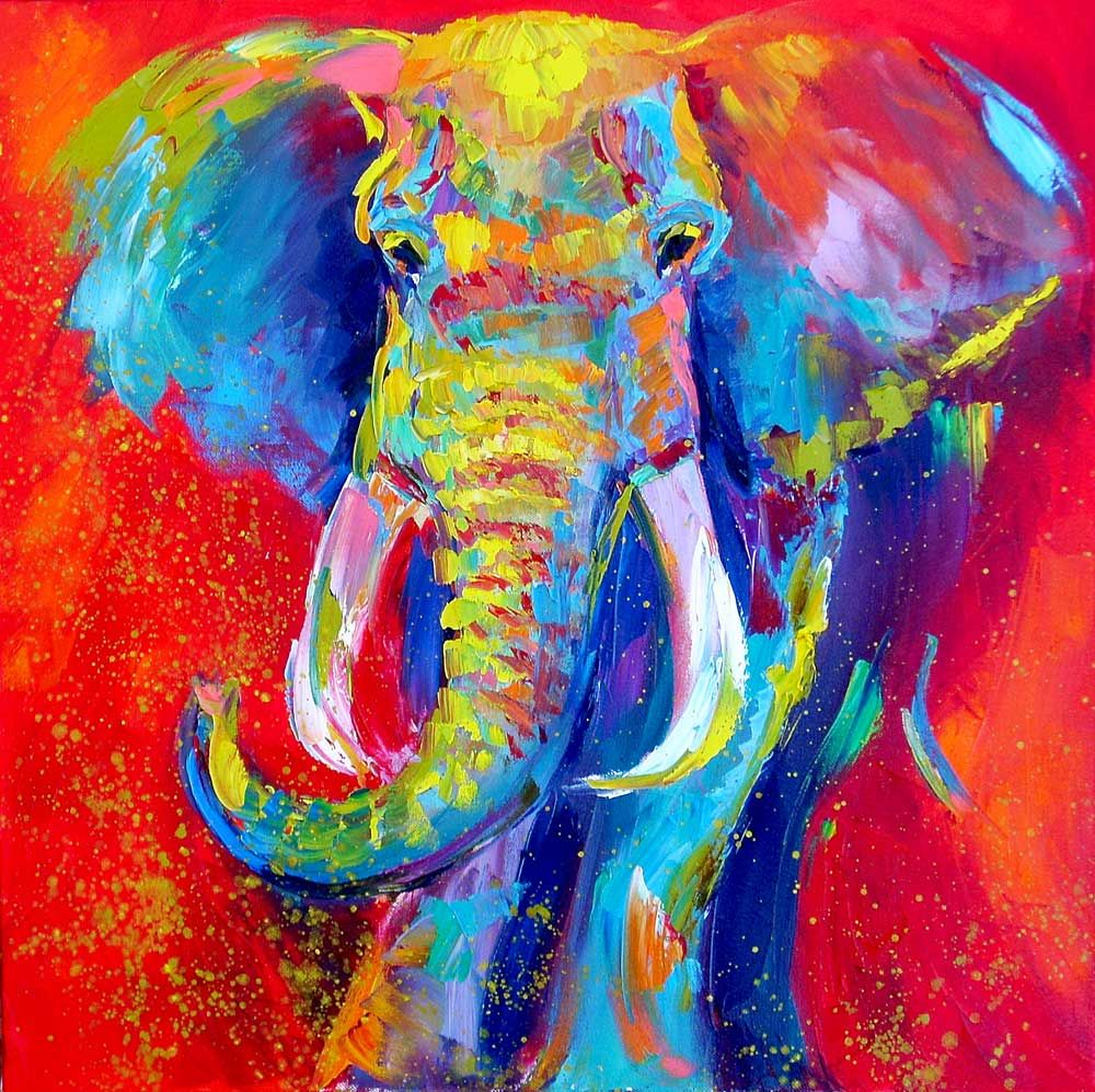 Swing time by Barbara Meikle artwork | Elephant painting ...