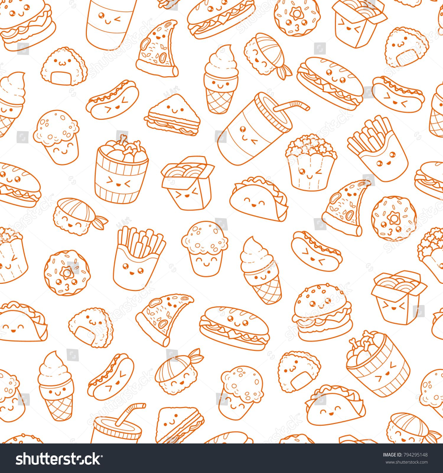 Set Of Vector Cartoon Doodle Icons Junk Food Illustration Of