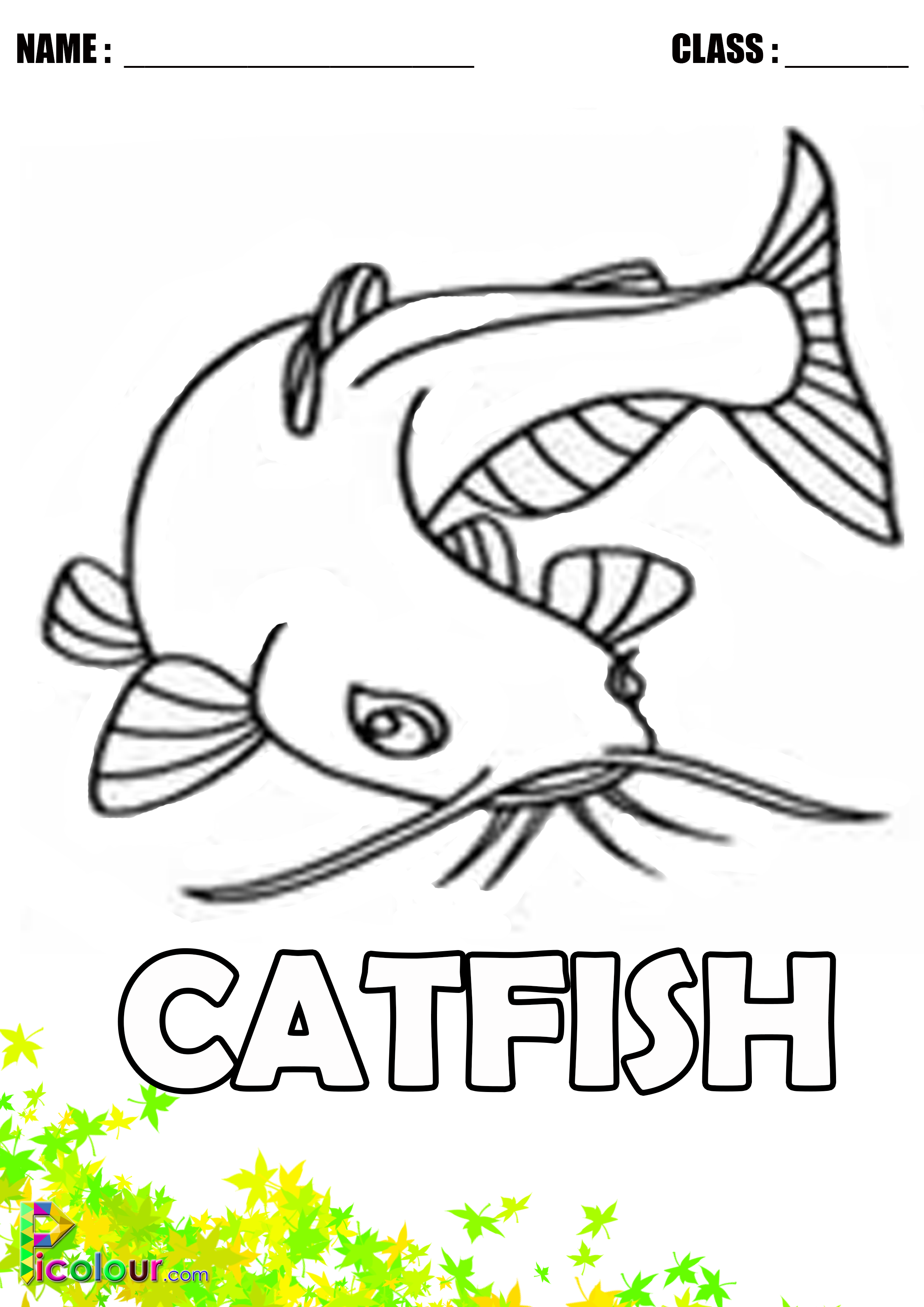 Catfish Colouring Pages For Kids Printable Colouring Pages Coloring Pages For Kids Printables Kids