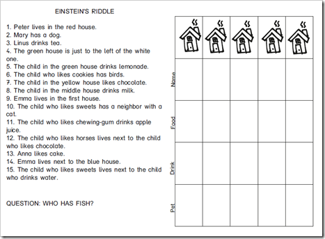 graphic relating to Einstein's Riddle Printable referred to as Einsteins Riddle for youngsters - English variation
