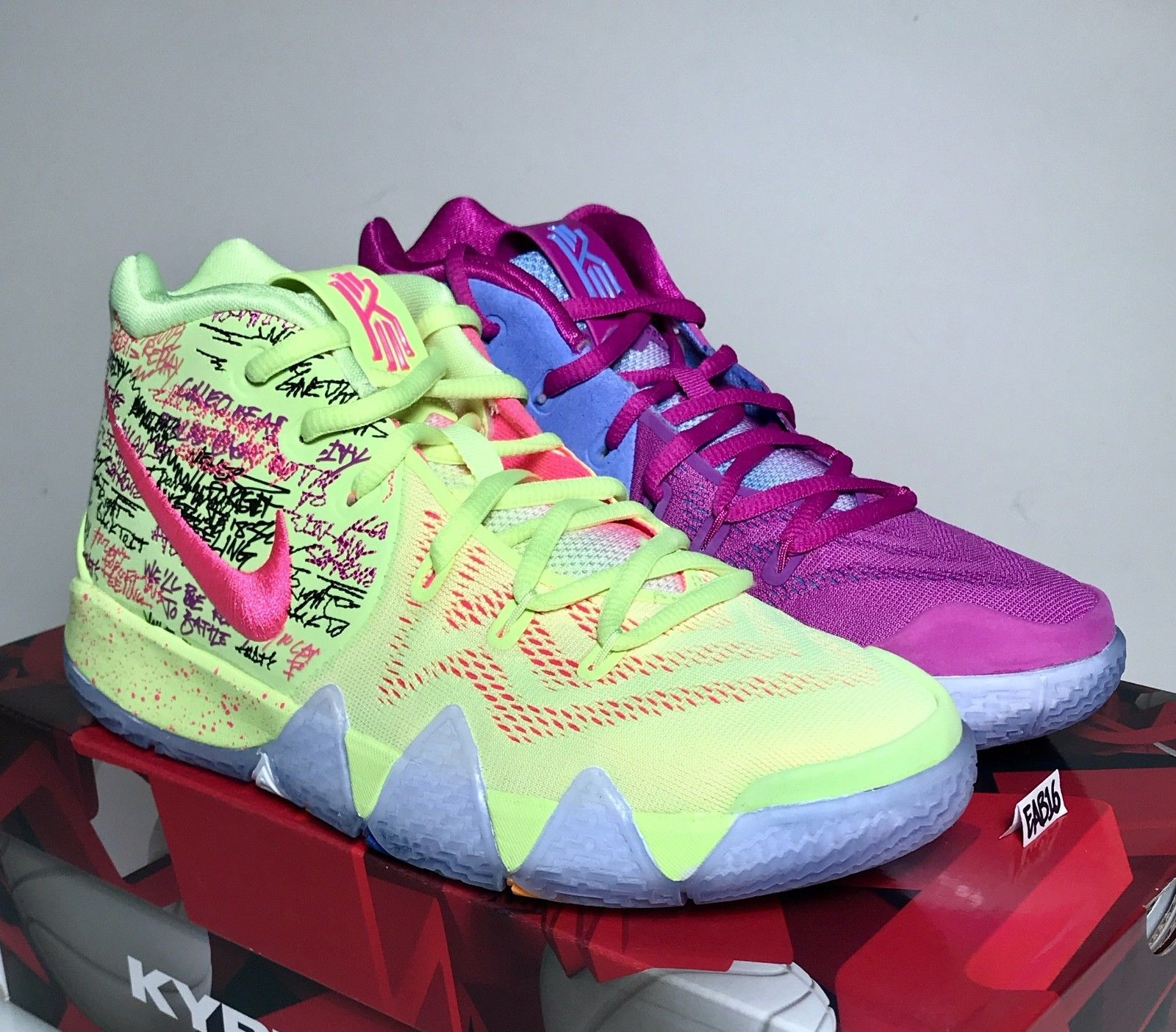 the best attitude 3637d eddc5 Nike Kyrie Irving 4 IV CONFETTI Purple and Yellow Multi Color Mens GS Kids  Boys