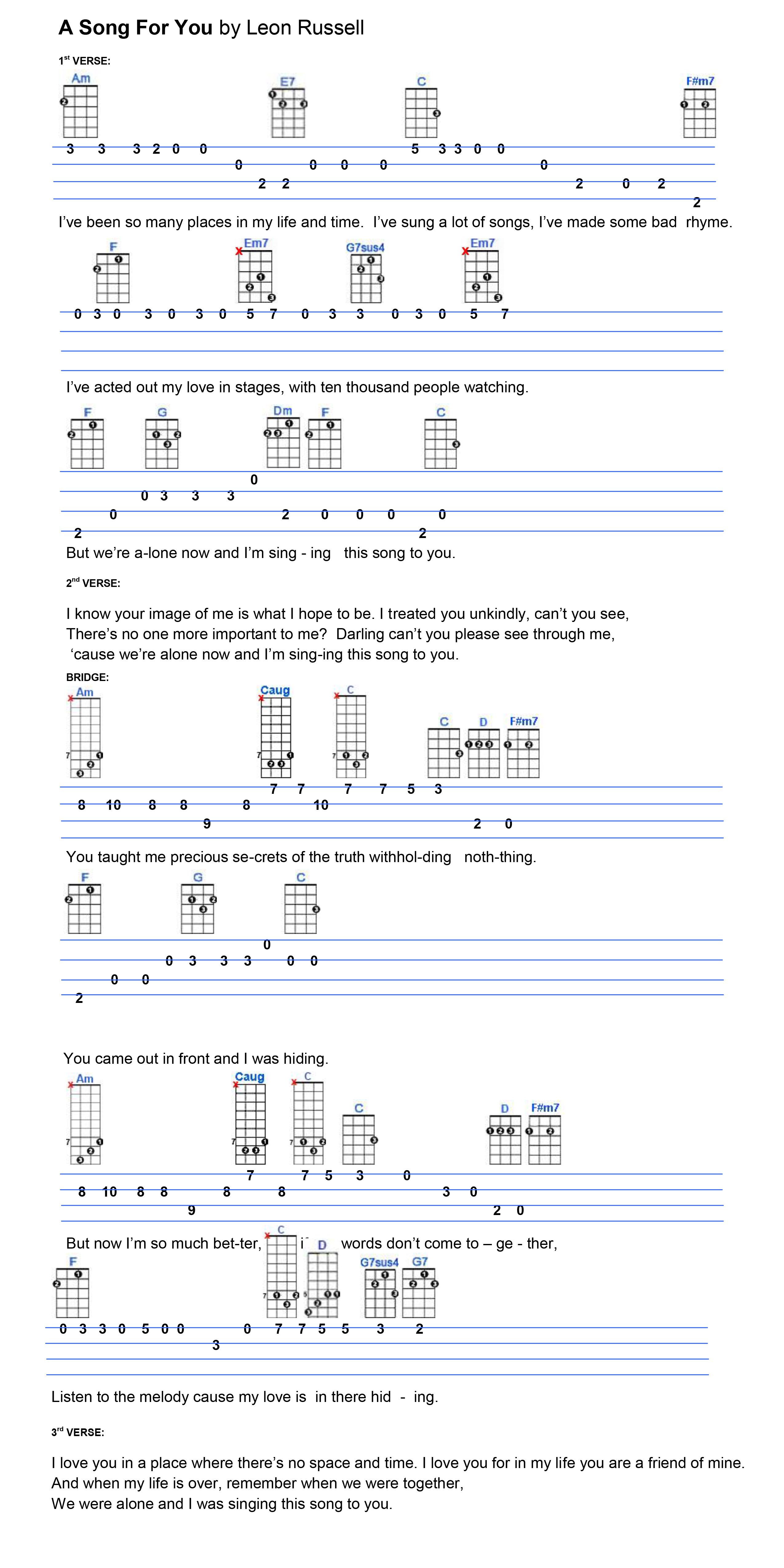 A Song For You | Ukulele Tabs in 2019 | Mandolin songs