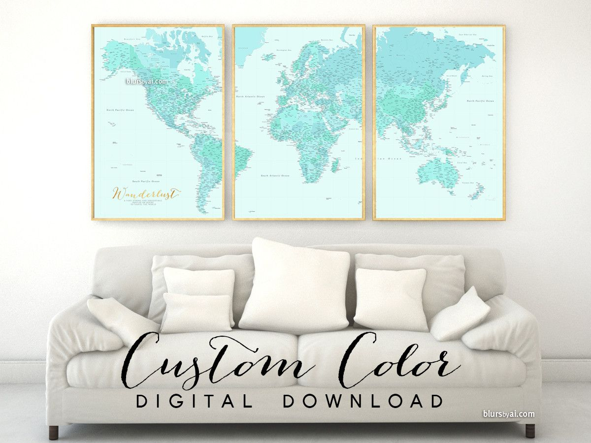 Custom color custom quote highly detailed world map printable custom color custom quote highly detailed world map printable with cities set of 3 split panels in 24x36 each gumiabroncs Images