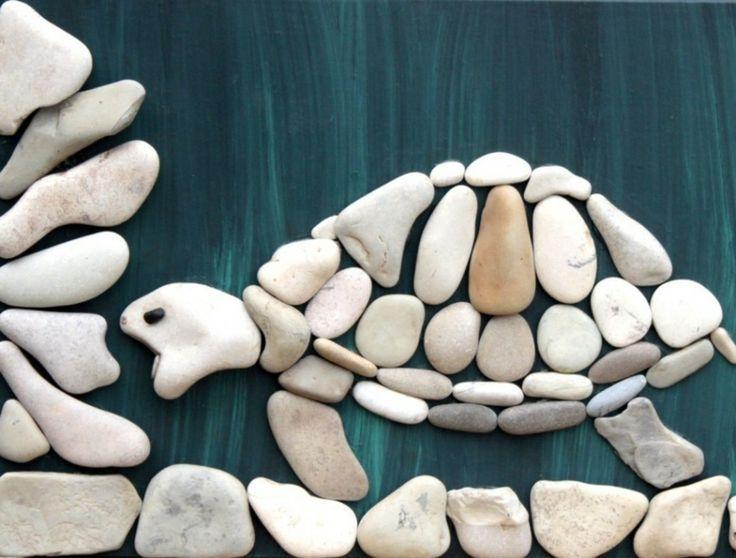 Original Schildkröte in weißen Kieselsteinen zum Selbermachen #bastelnmitsteinen