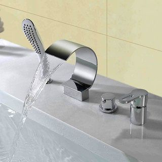cascade contemporaine robinet de baignoire avec douche  main