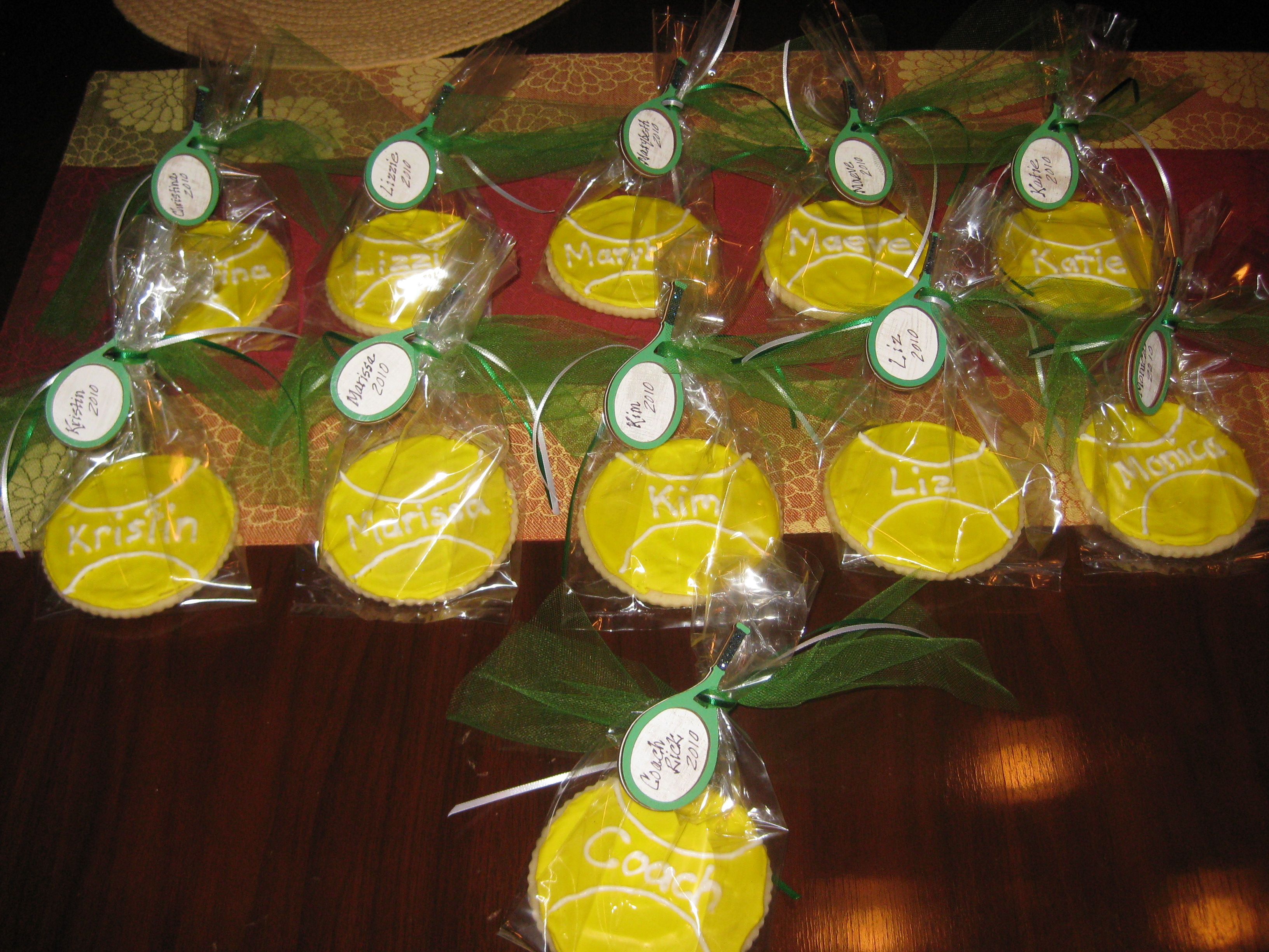 Tennis ball sugar cookies.  Super cute and not too difficult to make.