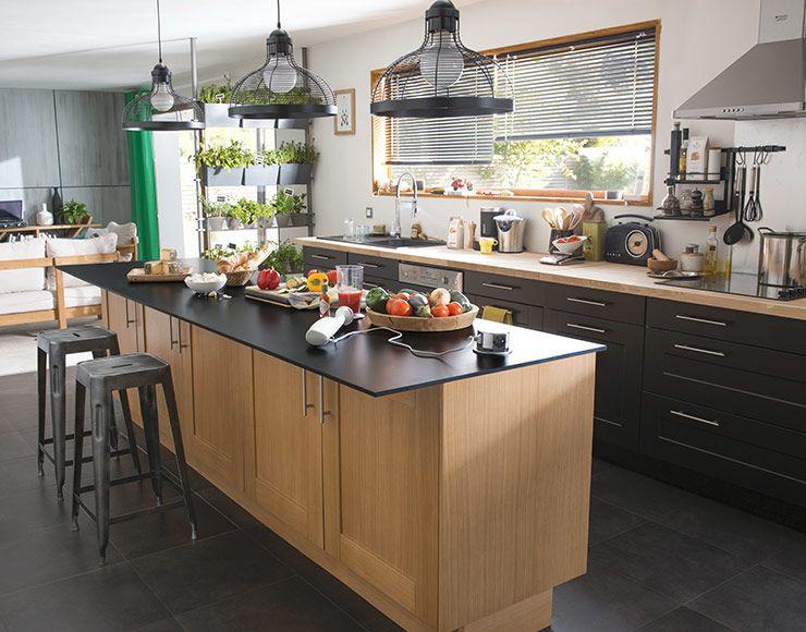 castorama cuisine kadral ch ne et noir une cuisine pour se retrouver en famille cuisine. Black Bedroom Furniture Sets. Home Design Ideas