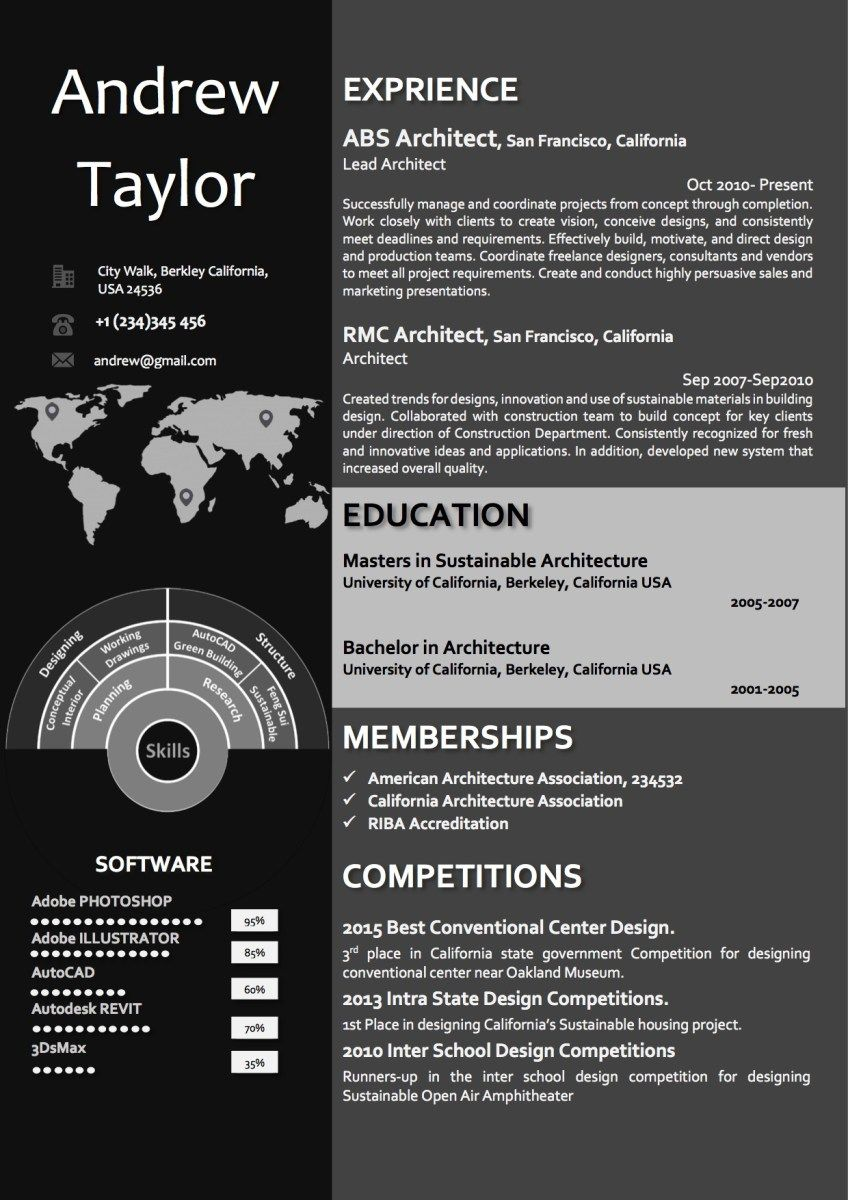 dark word architect resume  cv template