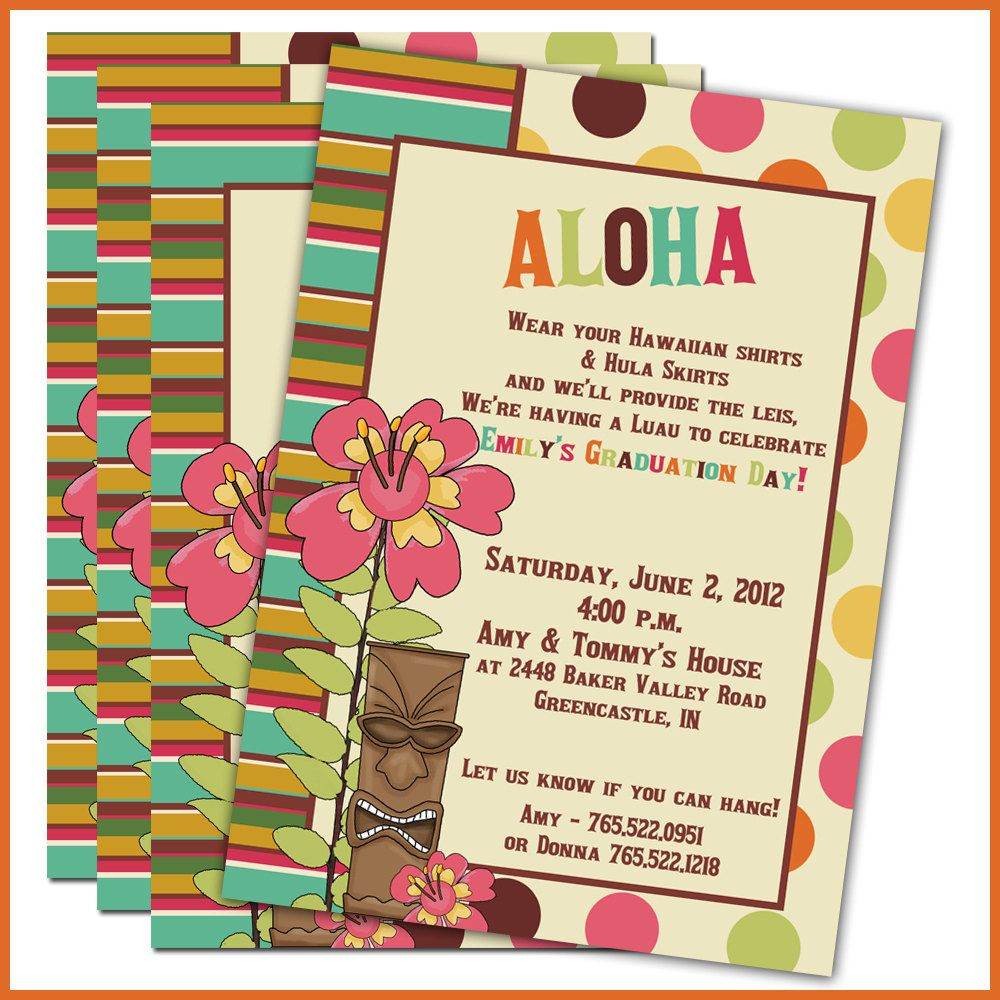 Luau Graduation Party Invitations Set Of 20 Personalized