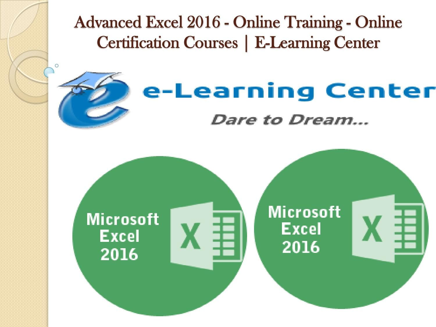 Advanced Excel 2016 Online Training Online Certification Courses