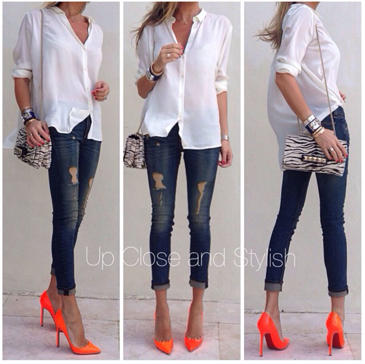 #Guess shirt, #Rag_Bone jeans, #Louboutin Pigalle 120mm and #Valentino clutch.