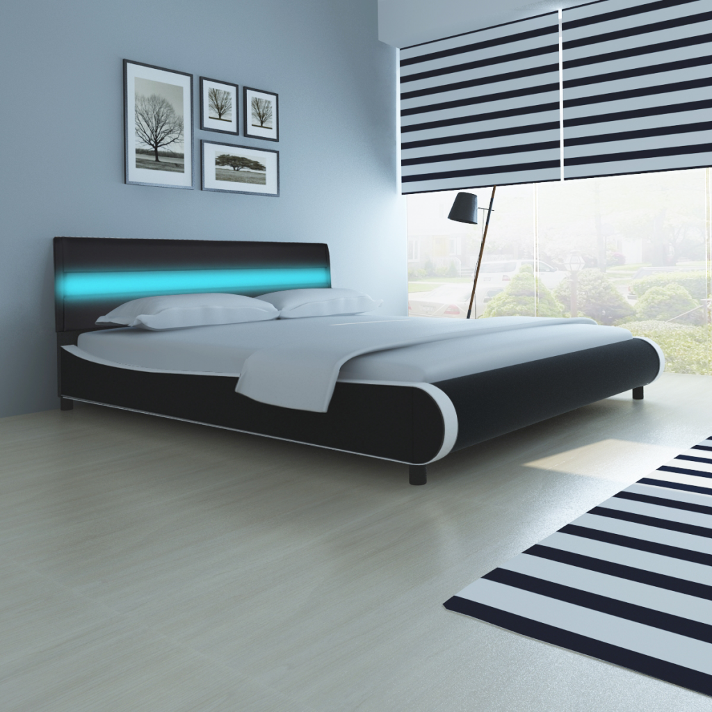 Bed with Headboard Bright LED 180 cm Artificial Leather | Pinterest ...