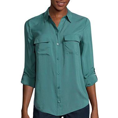 jcpenney.com | a.n.a® Roll-Tab Sleeve Shirt