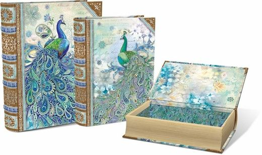 Paisley Peacock Large Nesting Book Boxes