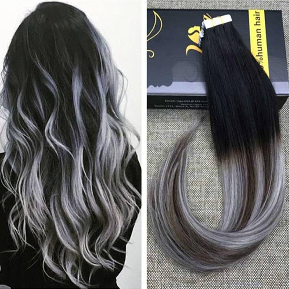 Balayage Tape Hair Extensions Black With Brown And Silver 1b