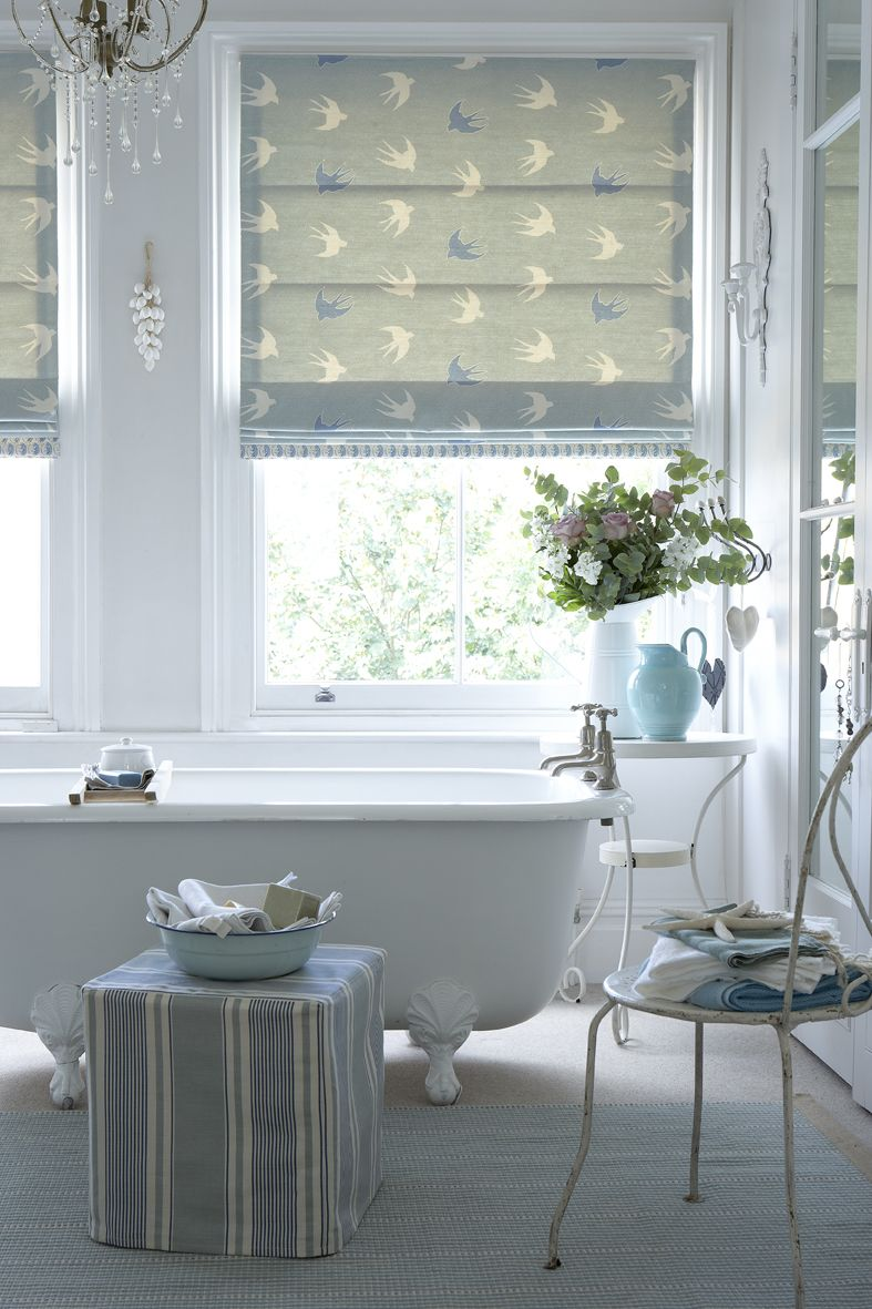 Roman Blind In Swallow Dive Duck Egg And Speedwell With A Leading - Roman blind bathroom