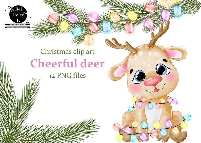 Watercolor Deer Clipart Christmas Clip Art Deer Cute Animal Etsy Christmas Clipart Clip Art Cute Animal Clipart