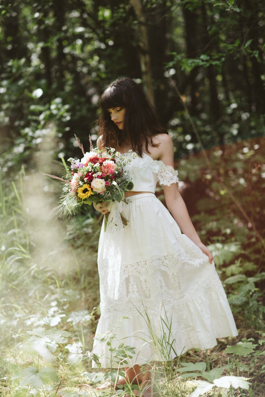 Bridal crop top and bridal petticoat skirt set boho wedding dress