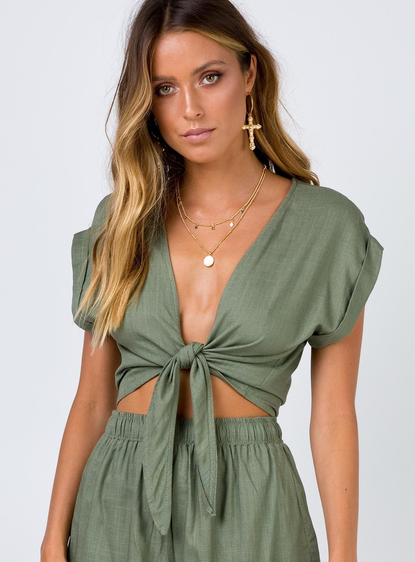f1a1ecda34473b Beach+House+Tie+Front+Top+Khaki+-+ Crop+top Tie+at+front+fastening  Plunging+neckline Relaxed+fit Unlined Linen+Look Cotton+Polyester+Blend ...