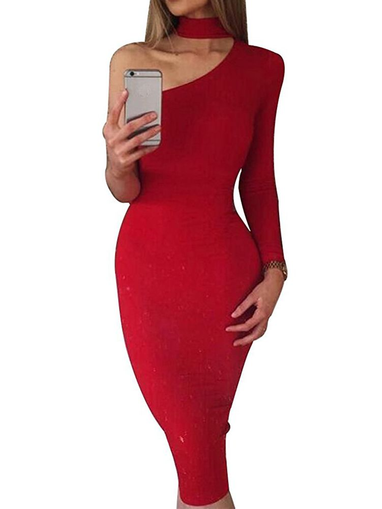e5c6062411 Sexy One Shoulder Long Sleeve Bodycon Stretch Bandage Party Dress ...